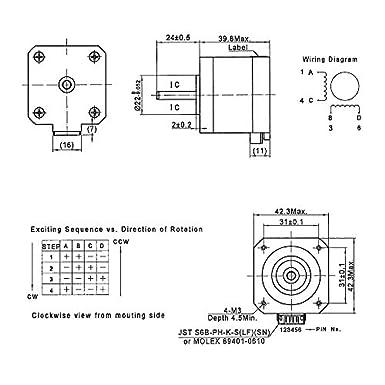 Stupendous Amazon Com Fysetc 3D Printer Motors Nema 17 Stepper Motor 42 40 Wiring Cloud Oideiuggs Outletorg