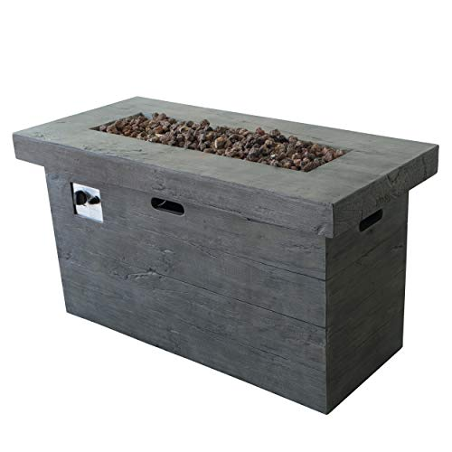Crawford Outdoor Grey Rectangular Fire Pit – 50,000 BTU For Sale