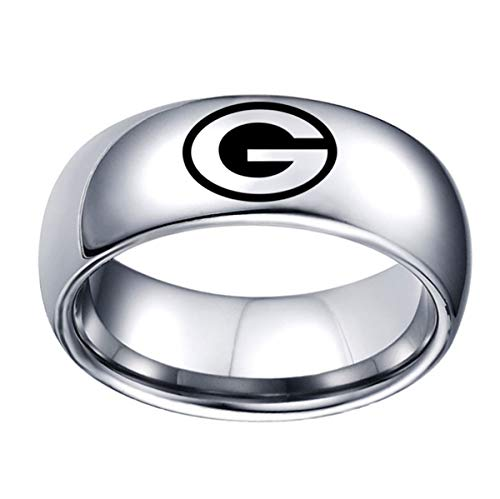 Green Bay Packers Ring Titanium Steel 8mm Silver Jewelry Silver, Size 10 (Womens Packer Ring)