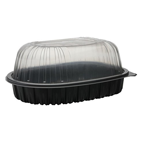Pactiv 48RCIM, 48 Oz. Chicken Roaster Containers with Covers, Plastic Disposable Take Out Containers, Carrier with Clear High Dome Lid (100)