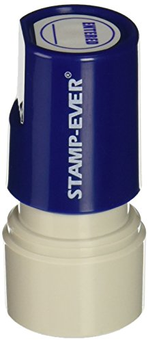 Stamp-Ever Pre-Inked Round Message Stamp, Entered, Stamp Impression Size: 3/4-Inch Diameter, Blue (5973)
