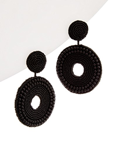 Kenneth Jay Lane Black Ring - Kenneth Jay Lane Women's Black Seed Bead Circle Drop Direct Post Earrings Black One Size