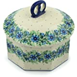 Polish Pottery Jar with Lid 6-inch Polish Wreath