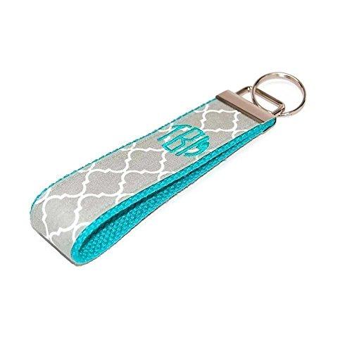 Monogrammed Grey Mint Keychain Quatrefoil Fabric Key Fob Free Shipping