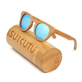 SUKUTU Men Women Bamboo Sunglasses