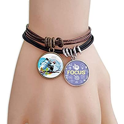 SeeParts Winter Sport Athletes Freestyle Skiing Illustration Bracelet Rope Wristband Force Handcrafted Jewelry Estimated Price £9.99 -