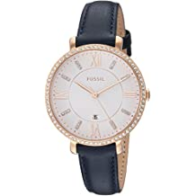 Fossil Women's 'Jacqueline' Quartz Stainless Steel and Leather Casual Watch, Color:Blue (Model: ES4291)