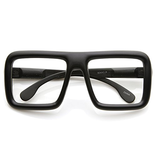 e451f2cad1 Large Retro-Nerd Bold Thick Square Frame Clear Lens Glasses (Matte Black)