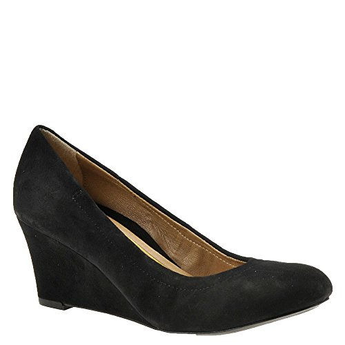 Vionic Womens Lux Camden Wedge Black Suede Size 11 (Ladies Wide Dress Shoes)