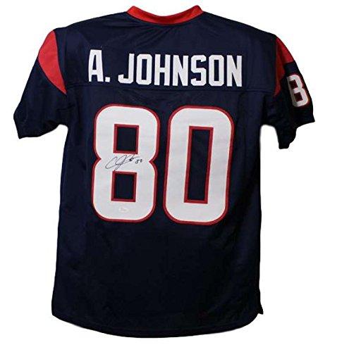 Andre Johnson Houston Texans - Andre Johnson Autographed Houston Texans Blue Jersey JSA