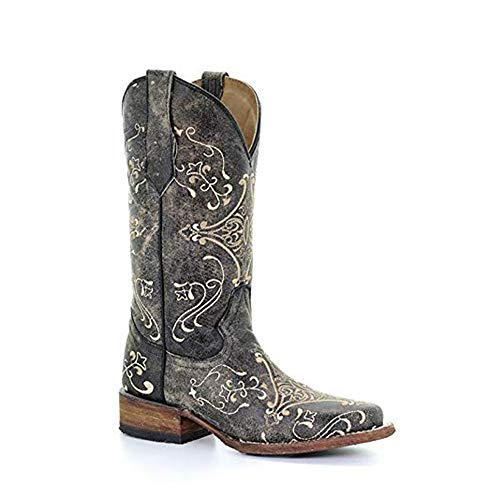 Circle G Women's Diamond Embroidered Cowgirl Boot Square Toe Black 9 M US