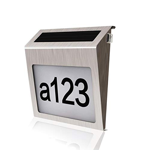 comboss Solar House Number Sign, 3 LED Auto On/Off Address Number Light for Home Garden, Customized Letter & Number