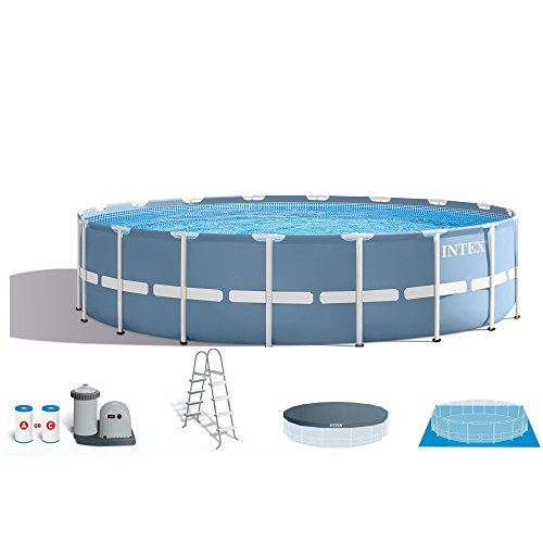 Intex 18ft X 48in Prism Frame Pool Set with Filter Pump, Ladder, Ground Cloth & Pool Cover Deep Swimming Pool Package