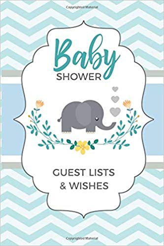 Baby Shower Guest Lists Wishes Elephant List Registry Logbook Notes Memo Writing Jotting Notebook Keepsake 6x9in 50 Pages Dazenmonk Designs