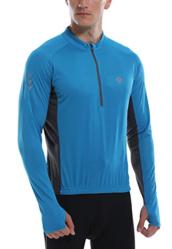 KORAMAN Mens Long Sleeve Cycling Jersey with Thumb Hole Quick Dry Bike Biking Shirts Blue M ()