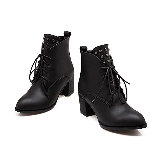 Leather Imitated Rivet Boots Bandage 1TO9 Heels Black Womens Chunky WfwnZYqPY