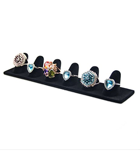 Ginasy Black Velvet 6 Finger Ring Stand Jewelry Display Holder (6 finger ring) ()