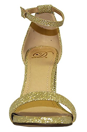 Heels Gold Womens Casual Open Ankle Platform Stiletto Pumps Evening Git High Toe Delicious Strap T7R4wxqxt