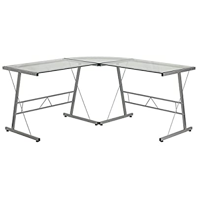 Flash Furniture Glass L-Shape Computer Desk with Silver Metal Frame - Stage the perfect setting in your office with this stylish and affordable glass l-shaped desk. Boosting a large work surface to accommodate your laptop or desktop and an open design for a modern setting. Spacious corner desk with 5mm black tempered glass top can accommodate multiple monitors Open design silver powder coated frame with self-leveling floor glides - writing-desks, living-room-furniture, living-room - 41Jg97SexuL. SS400  -