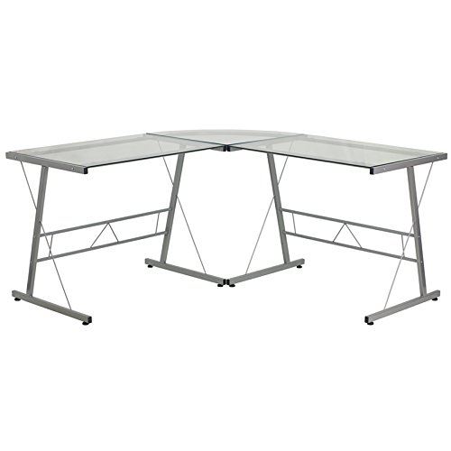 Flash Furniture Glass L-Shape Computer Desk with Silver Frame Finish (Desk Silver Computer)
