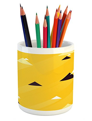Pool Triangles Tablecloth (Ambesonne Vintage Yellow Pencil Pen Holder, Big and Small Diagonal Triangles with Stripes Geometric Retro, Printed Ceramic Pencil Pen Holder for Desk Office Accessory, Marigold Black and White)