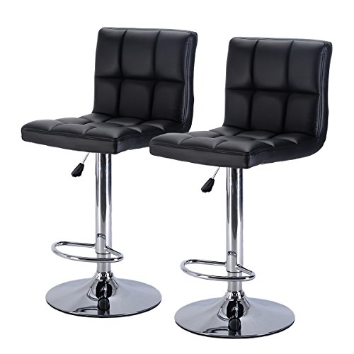 New Set of 2 Bar Stool PU Leather Barstools Chair Adjustable Counter Swivel Pub