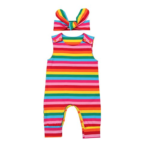 Minesiry Infant Baby Girl Summer Rainbow Stripe One Piece Romper Bodysuit Clothes Set (Rainbow, 0-3 (Baby Infant Girl One Piece)