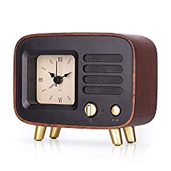 BEW Retro Alarm Clocks & Bluetooth Speaker, Roman Number Wooden Silent Desktop Analog Clock | Rechargeable Wireless MP3 TF Card Player for Bedroom/Kitchen/Office/Living Room/Bathroom/Travel