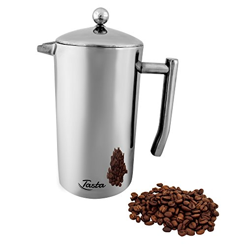 Tasta Quality Stainless-Steel French Press Coffee Maker. Heavy Duty for Long and Intense Use. FDA Approved. Double Filter. Double Wall. Keep Warm. 1 Liter (34 oz). Special Bonus - Measuring Scoop.