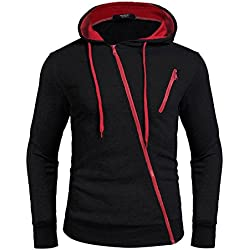 Zuckerfan Mens Fashion Gym Sport Lightweight Zip-up Irregular Hoodie(Black,Medium)