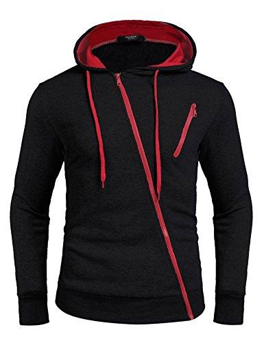 Zuckerfan Mens Fashion Gym Sport Lightweight Zip-up Irregular Hoodie(Black,Medium)