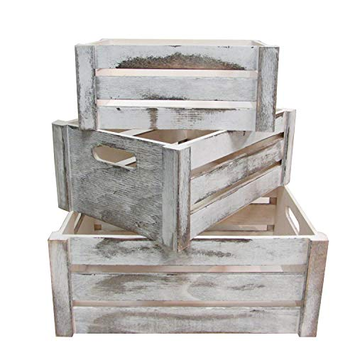 Admired By Nature Distressed Decorative Set of 3 Rectangle Storage Gift Wood Crates, Rustic - Box Crate