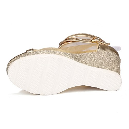 Sandals Solid Peep Zipper Gold Heels Toe Microfibre High Women's AllhqFashion X5wpqn8x