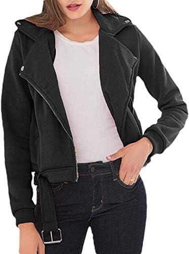 Fnbdyfjdsf Womens Autumn Fashion Long Sleeve Oblique Zipper Moto Biker Short Jacket