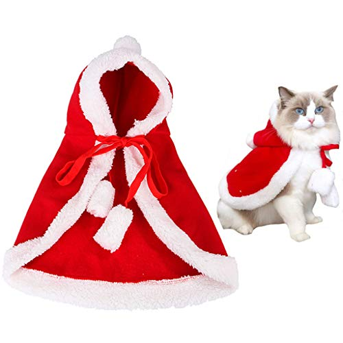 ITESSY Cat Christmas Costume with Hat Pet Clothes Apparel Outfits Santa Cape Cloak for Small Dogs Kitten,M