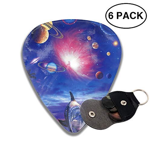 Dolphins Chasing Planets Guitar Picks 3 D Print Custom 6pcs 0.46mm 0.71mm And 0.96mm with a -