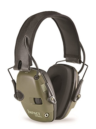 Howard Leight by Honeywell Impact Sport Sound Amplification Electronic Shooting Earmuff, Classic Green (R-01526) (Plastic Cups With Shot Glass Built In)