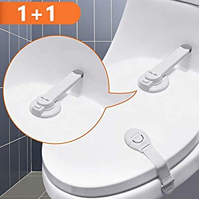 Baby Safety Toilet Lock, 3M Adhesive Swing Shut Toilet Seat Bowl Lock for Bathroom Baby Toddler Pet Proofing with 1PC Child Safety Cabinet Lock
