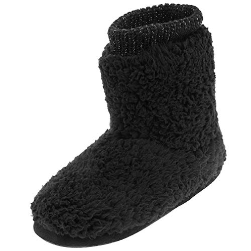 festooning Women's Comfortable Warm Faux Wool Ankle Boots Slippers Soft Plush Lining Non-Skid Solid Rubber Bottom House Shoes Black Size 5-6 M US (Black Slipper Boots For Women)