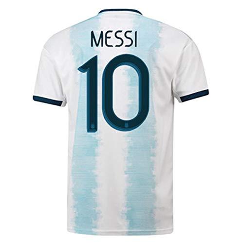 (Lujfhd 2019 Men's Home Messi #10 Argentina Soccer Jersey White/Blue (L))