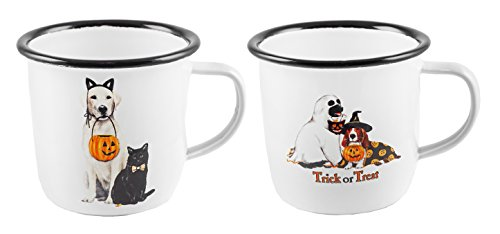 Trick or Treat Cat & Dog Halloween Enameled Mugs Set of (2 Dogs Holding A Present Costume)
