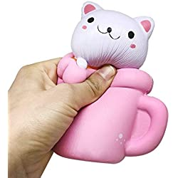 LIGONG Scented Slow Rising Toy Charms Soft Squishy,Stress Relief Super Soft Cute Cup Cat, 14CM, Pink