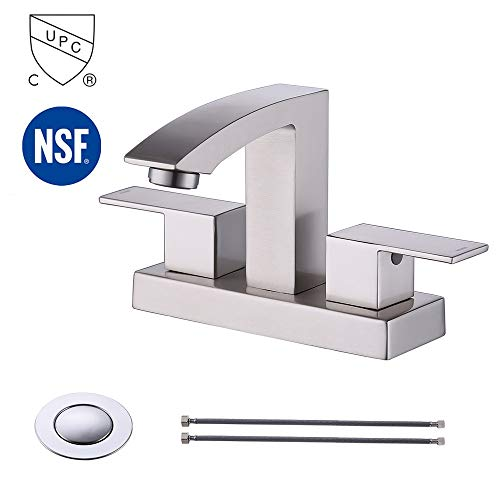 - KES cUPC NSF Certified BRASS Bathroom Sink Faucet Two Handle Bath Lavatory Vanity Faucets 4-Inch Centerset Brushed Nickel, L4101BLF-BN