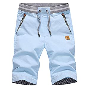 Tansozer Men's Shorts Casual Classic Fit Drawstring Summer Beach Shorts with Elastic Waist and Pockets (Sky Blue, XXX-Large)