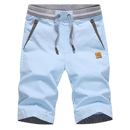 - Tansozer Men's Shorts Casual Classic Fit Drawstring Summer Beach Shorts with Elastic Waist and Pockets (Sky Blue, X-Small)