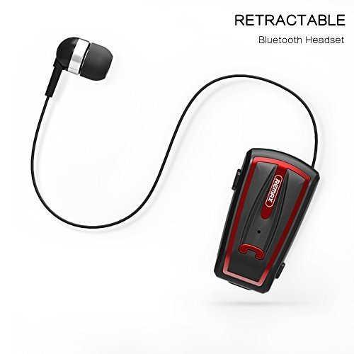 Touchshop Wireless Clip-on Bluetooth Headset Mini Retractable Bluetooth Headphone Earphone Perfect for Working Out and Outdoor Activities Compatible with Most Bluetooth-enabled Devices