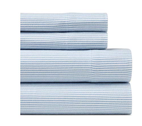 Tommy Hilfiger Ithaca Blue Flannel Sheet Set (Full) 2 Tommy Hilfiger Pillowcases