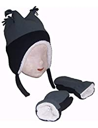 N'Ice Caps Boys Sherpa Lined Micro Fleece 4 Corner Ski Hat and Mitten Set