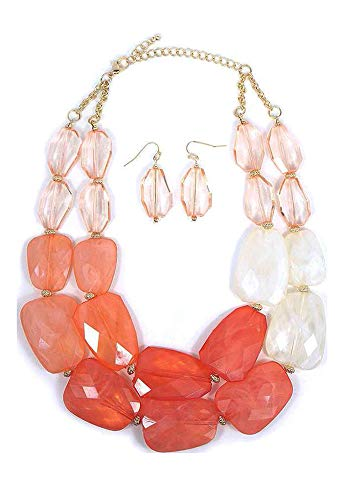 Secret for Longevity Pink Peach Coral Melon Salmon Colored Resin Big Chunky Statement Necklace Earrings Set (Necklace Coral Orange)