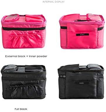 旅行化粧品バッグ大きなポータブル容量化粧ケースポーチ女性用化粧品バッグブラシ女の子、防水トイレットウォッシュバッグ,黒